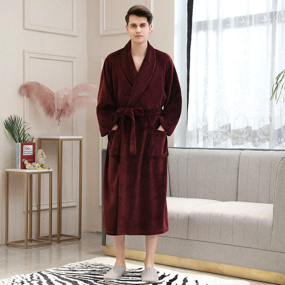 SDCVRE Winter Bathrobe Winter Flannel Splicing Nightgown Long Size Plus Thick Men and Women's Pajamas Comfortable Warm Bathrobe Bathrobe Bathrobe,Claret Men,XXL