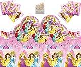 Disney Princess Party Supplies - Juego Completo de vajilla para Fiesta de cumpleaños para niñas 16 Invitados - Disney Princess Plates Copas Servilletas Mantel
