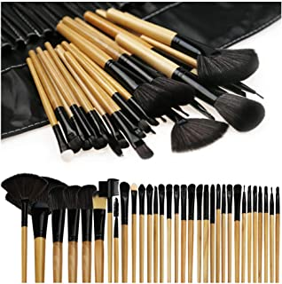 Makeup Brushes, Makeup Brush Set, 32 PCS Profesional Wooden Handle Synthetic Cosmetics Makeup Brush Kit with Leather Case, Foundation Eyeliner Blending Concealer Mascara Eyeshadow Face Powder (Wooden)