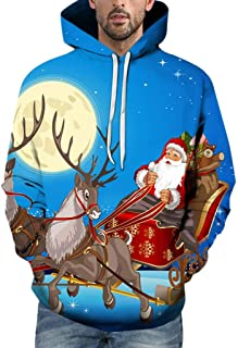 Christmas Tops for Men Casual Warm Sweatshirt 3D Printed Snow Funny Parttern Santa Claus Hoodies Blouse Jacket WEI MOLO
