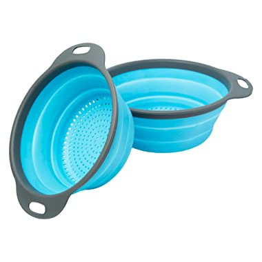 Colander Set - 2 Collapsible Colanders (Strainers) Set By Comfify - Includes 2 Folding Strainers Sizes 8  - 2 Quart and 9.5  - 3 Quart Blue and Grey