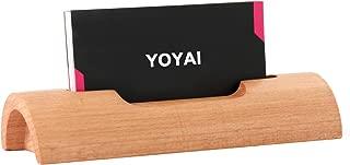 YOYAI Natural Wood Business Card Holder Wooden Name Card Holder Office Desktop Card Display Stands(Beech Wood Pack of 1)