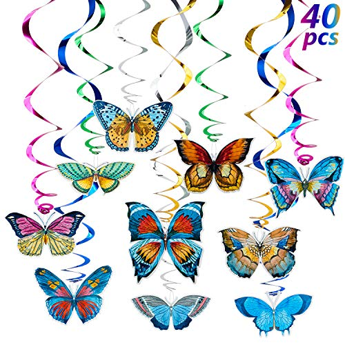 WILLBOND 40 Pieces Butterfly Spring Hanging Swirl Summer Spring Party Hanging for Home Classroom Baby Shower Birthday Wedding Garden Themed Tea Party Decoration Supplies