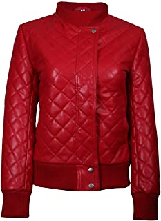 T&I Sydney Assez Red Quilted Bomber Womens Leather Jacket