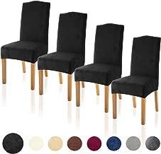 TIANSHU Velvet Dining Chair Cover Soft Stretch Dining Room Chair Slipcover Set of 4, Black