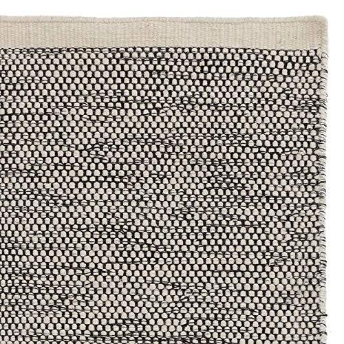 "URBANARA XL Teppich ""Kolong"" – 250cm x 350cm, Eierschale/Schwarz, 100% Wolle – Robuster..."