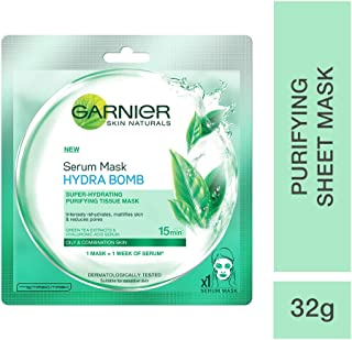 Garnier Skin Naturals, Green Tea, Face Serum Sheet Mask (Green), 32g (Green Tea)