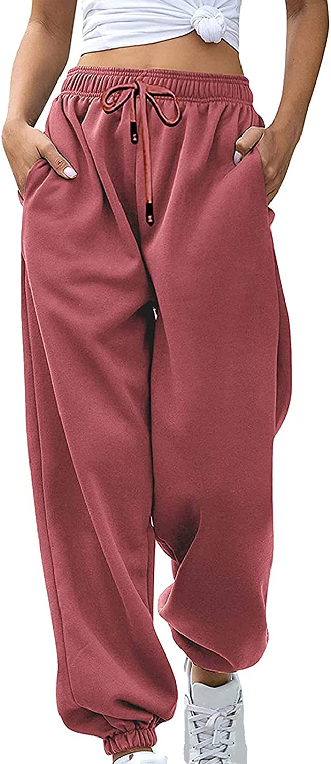 allshope Womens High Waisted Sweatpants Drawstring Workout Active Joggers Pants Baggy Lounge Bottoms with Pockets