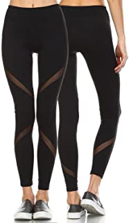 Women's Mesh Workout Leggings Panel Sheer Yoga Pants Gym Tights