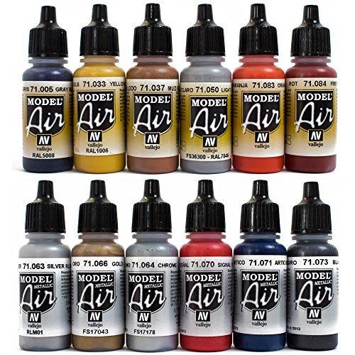 Airbrush Farben 12 x 17 ml Vallejo Model Air Bunt Metallic Farben-Set Airbrushfarben