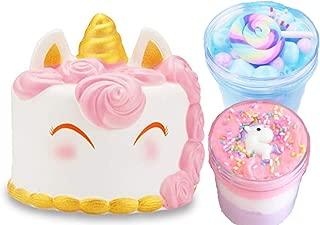 Unicorn cake squishie with Blue Dream cake slime and Birthday cake slime BONUS Free Unicorn backpack charm| Unicorn gifts for girls, unicorn toys, unicorn slime, fluffy slime, Cloud slime with squishy