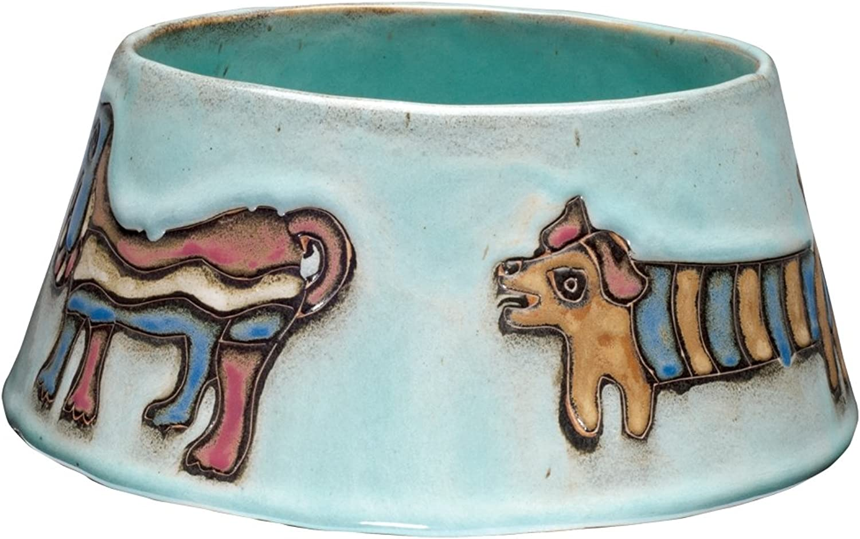 Animal World  Dogs Playing XLarge Green Doggie Dish