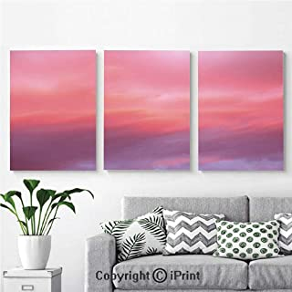 Modern Gallery Wrapped Canvas Print Beautiful Vanilla Sky with Clouds Tenderness Dreamy Unreal Soft Heavenly 3 panels Pictures on Canvas Wall Art Ready to Hang for Living Room Kitchen Home Decor,12