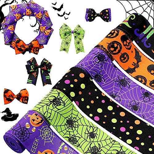 6 Rolls 30 Yards Halloween Wired Edge Ribbons Bat Spider Web Printed Ribbon Witch Legs Hat Skull Pumpkin Ribbons Halloween Decorative Wrapping Ribbon for Halloween Home Wreath DIY Craft Floral Bow