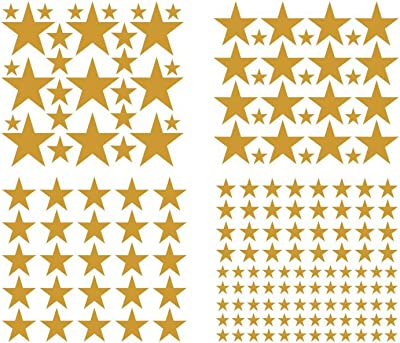 JUEKUI Moon and Stars Wall Decal Set Starry Sky Vinyl Sticker for Kids Boys Girls Baby Room Decoration Good Night Nursery Wall Decor Home Decoration WS29 (Gold)