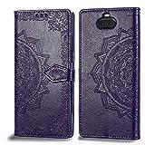 Bear Village Hülle für Sony Xperia 10 Plus, PU Lederhülle Handyhülle für Sony Xperia 10 Plus, Brieftasche Kratzfestes Magnet Handytasche mit Kartenfach, Violett