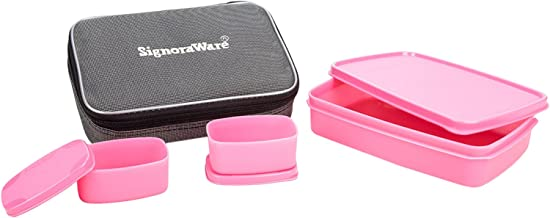 Signoraware Compact Lunch Box with Bag Pink
