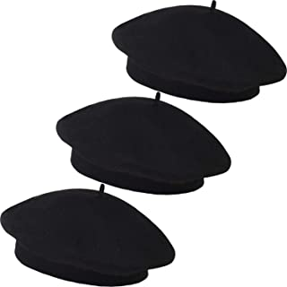 3 Pieces Women Berets Artist Hats Winter Berets Black French Berets for Party