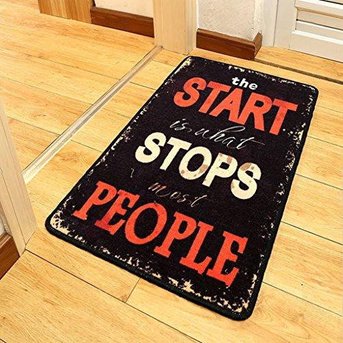 Good thing tapis Matelas matelas anglais personnalisé Storefront Bedroom Home Black Print Anti-skid Foot Pad (taille : 60 * 90cm)
