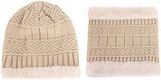Children Kids Winter Hat Scarf Set Knit Double-Layer Hats 2pcs Baby Girls Boys Thick Warm Fleece Cap Scarf Neck Warm for 1-8Y Beige