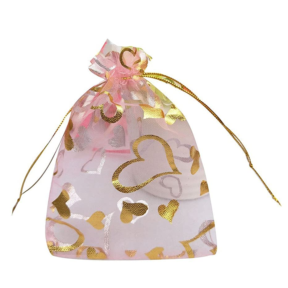 Tovip 100PCS 3.5x4.5'' (9x12cm) Organza Bags Jewelry Wedding Favors Party Pattern Printed Drawable Packaging Display & Gift Pouches (Pink Heart)