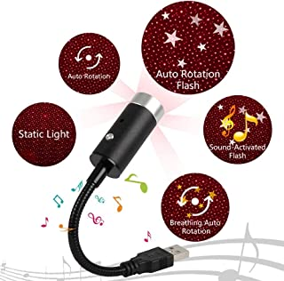 USB Star Light, Sound Activated Strobe with 360-Degree Rotating, Smilee Car Ceiling Interior Light, Romantic USB Night Lig...