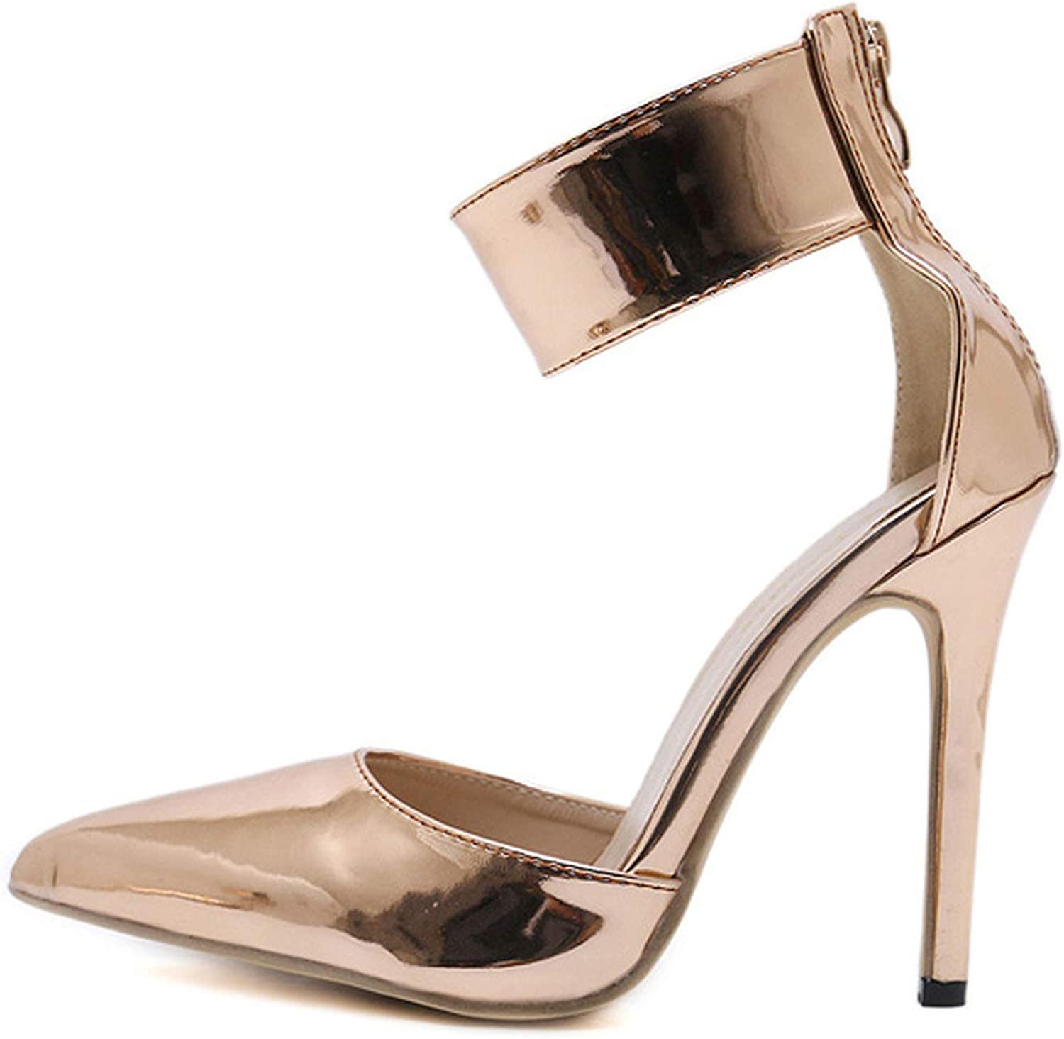 IOJHOIJOIJOIJMO Champagne Gladiator Women Pumps Zipper Pointed Toe High Heels Sexy Lady shoes Thin Heels
