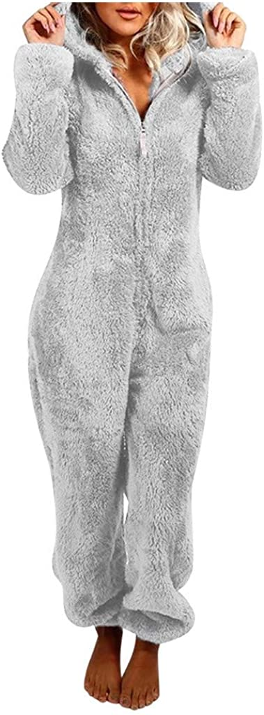 FUNEY Winter Warm Sherpa Romper Fleece Onesie Pajama One Piece Zipper Hooded Jumpsuit Sleepwear Playsuit for Women