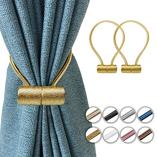 Elctman Magnetic Curtain Tiebacks Clips - Window Curtain Holdbacks for Home Office Decorative Rope Tie Backs, Curtain Tiebacks for Drapes, No Tools Required - 1 Pair-1Golden