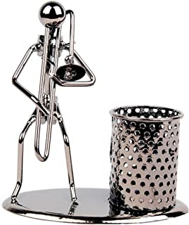 Pen Container Holder Pencil Cup Iron Art Music Figure~Home Office Desk Decor Gift Perfect Father's Day Gift (C79 Trombone)