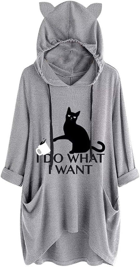Women's Plus Size Halloween Cat Max 64% OFF Shipping included Cute Kawaii Ear Dress Hooded