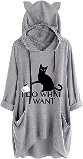 Tops for Women Casual,Sale💖Women Casual Print Cat Ear Hooded Long Sleeves Pocket Irregular Top Blouse Shirt