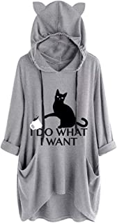 Sunhusing Womens Cute Lazy Lying Cat Printed Solid Color Long Sleeve Sweatshirt Cat Ear Hooded Pocket Tunic Tops
