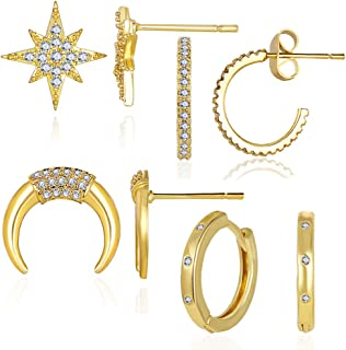 4 Pairs 14K Gold Plated CZ Cuff Earrings Set Huggie Stud | Small Hoop Earrings for Women Birthday Gifts