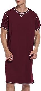 Ekouaer Sleepwear Men's Nightshirt Short Sleeve Pajamas Comfy Big & Tall Henley Sleep Shirt S-XXL
