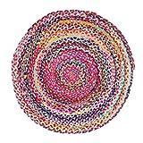 Vidal Regalos Alfombra Redonda Circular Trenzada Algodón y Yute Etnica Rustica Multicolor 90 cm
