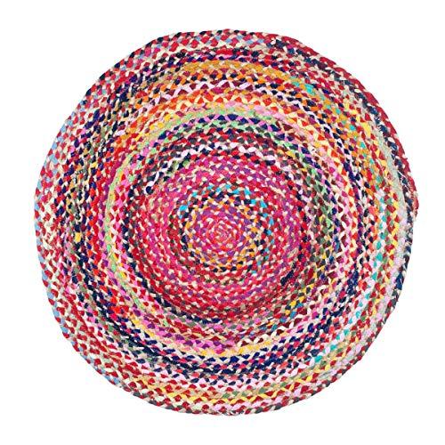 Vidal Regalos Runder Teppich, rund, geflochten, Baumwolle und Jute, ethnisch, rustikal, mehrfarbig, 90 cm