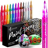 Metallic Paint Pens for Rock Painting, Stone, Ceramic, Glass, Wood, Fabric, Pebbles, Scrapbook Journals, Photo Albums, Card Stocks. Set of 12 Acrylic Paint Markers Extra-Fine Tip 0.7mm