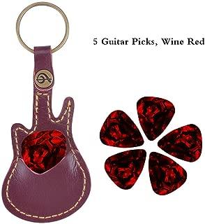 New Guitar Pick Holder, PUNK Pick Holder Case Leather Key Chain, 5 Picks/Bag (Wine red-upgrade)