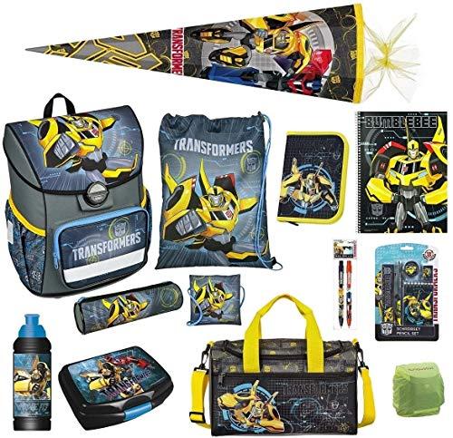 Familando Transformers Bumblebee Schulranzen-Set 17 TLG. mit Federmappe, Sporttasche, große Schultüte 85cm und Regenschutz