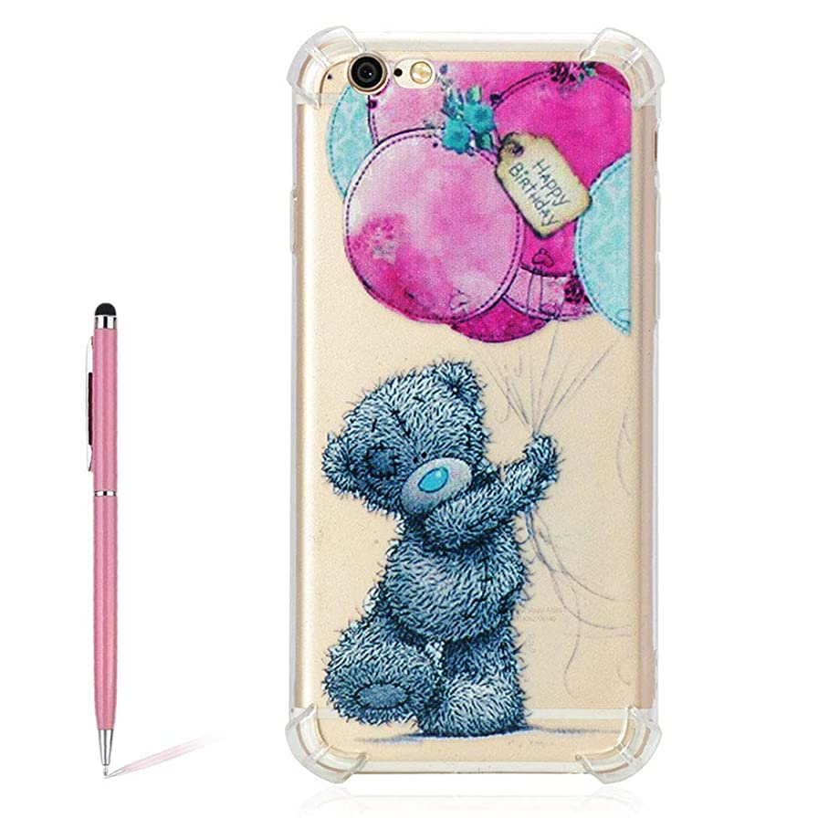 Cute Cartoon Balloon Gray Bear Pattern Painted Transparent Soft TPU Silicone Case for iPhone 6/6S 4.7