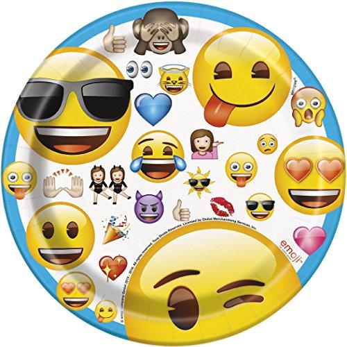 Unique Party 50603 Piatti con disegno Emoji, 8 pezzi