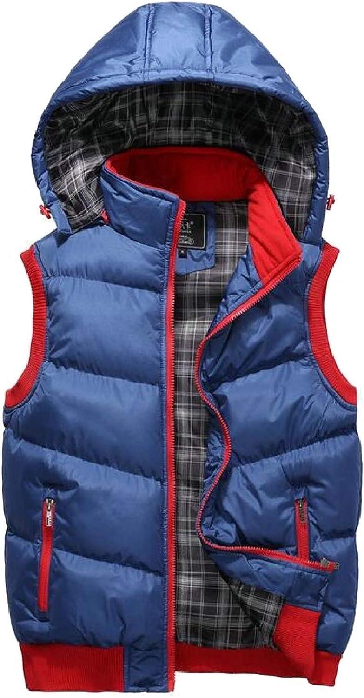8fa7872f6 Tymhgt-CA Mens Sleeveless Puffer Puffer Puffer Down Hooded Zip-Up Vest  Jackets e4d642
