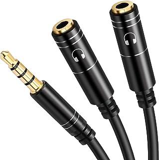 2分配ケーブル Miuphro オーディオ分配ケーブル 3.5mmヘッドホン延長ケーブル 4極3.5mmステレオオーディオ(オス)⇔3.5mmステレオ(メス)×2分配ケーブル TRRSステレオ高音質 金メッキ端子延長コード 12ヶ月保証