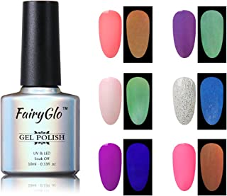Nail Polish UV LED Glow in the Dark Dramatic Nail Art Soak Off Varnish Gift Set Carnival Party 6pcs 10ml FairyGlo 011