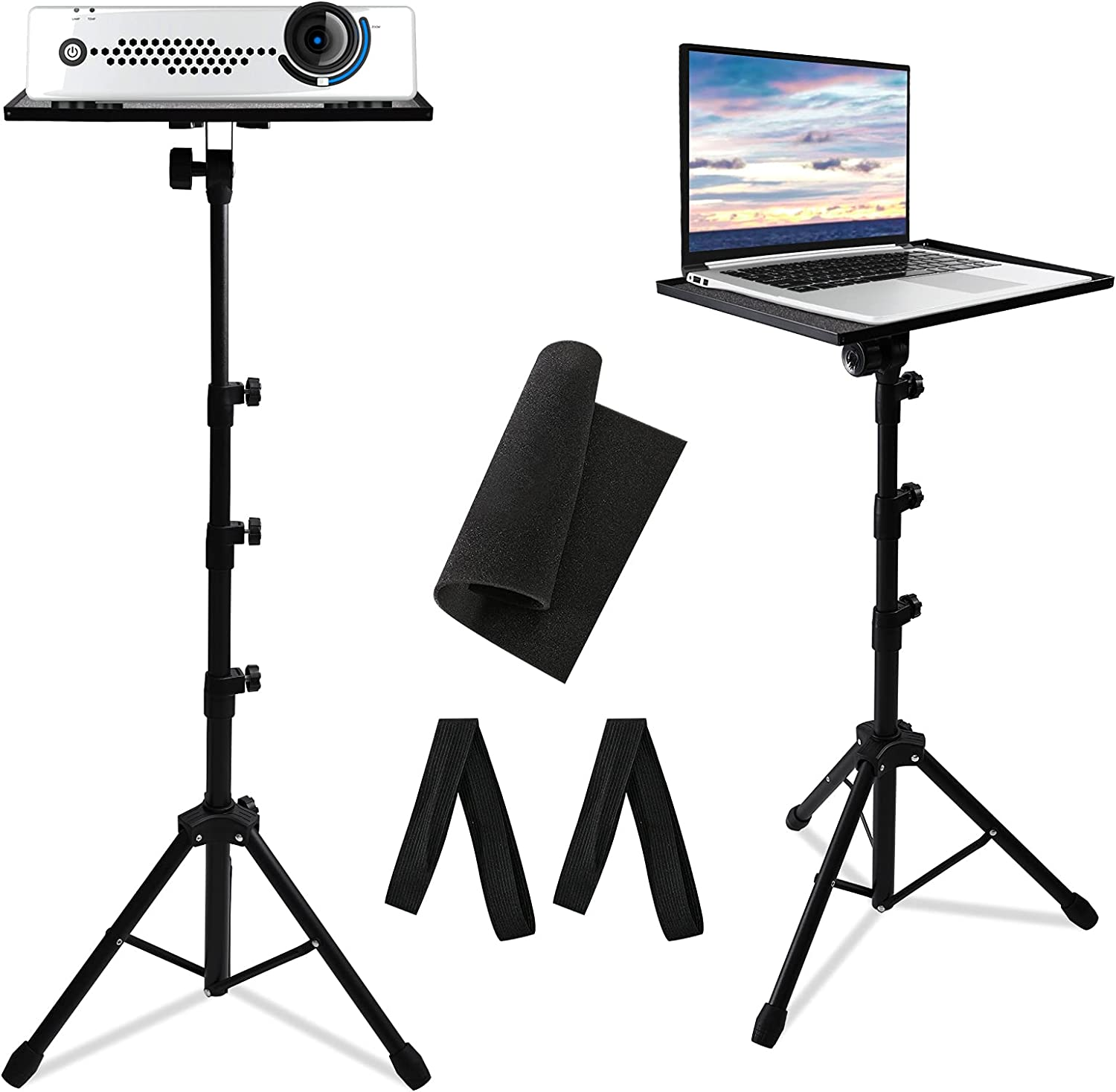 Projector Tripod Stand with Adjustable Height 23 to 63 Inch- Foldable Universal Laptop Tripod Stand Tall, Portable Computer DJ Device Tripod for Home, Office, Stage or Studio