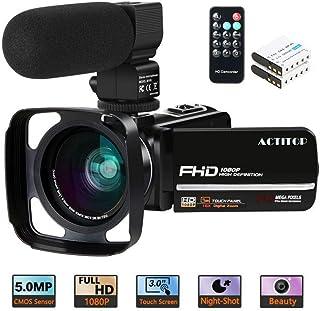 Cámara de Video ACTITOP FHD 1080P 24MP IR Visión Nocturna Pantalla táctil LCD de 3Videocámara con cámara Vlog de Youtube con micrófono Externo Lente Gran Angular Control Remoto y Cubierta