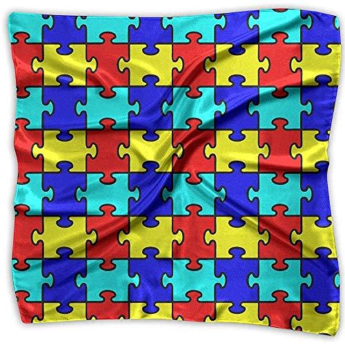 Merle House Puzzle Toy Lady Bedruckter quadratischer Schal Kopfschmuck Hals Satin Schals Wickeltuch Halstuch