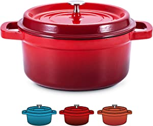 SULIVES Enameled Cast Iron Dutch Oven Non-Stick Cookware Pot with Lid Suitable for Bread Baking Use on Gas Electric Oven 1.5 Quart, Red
