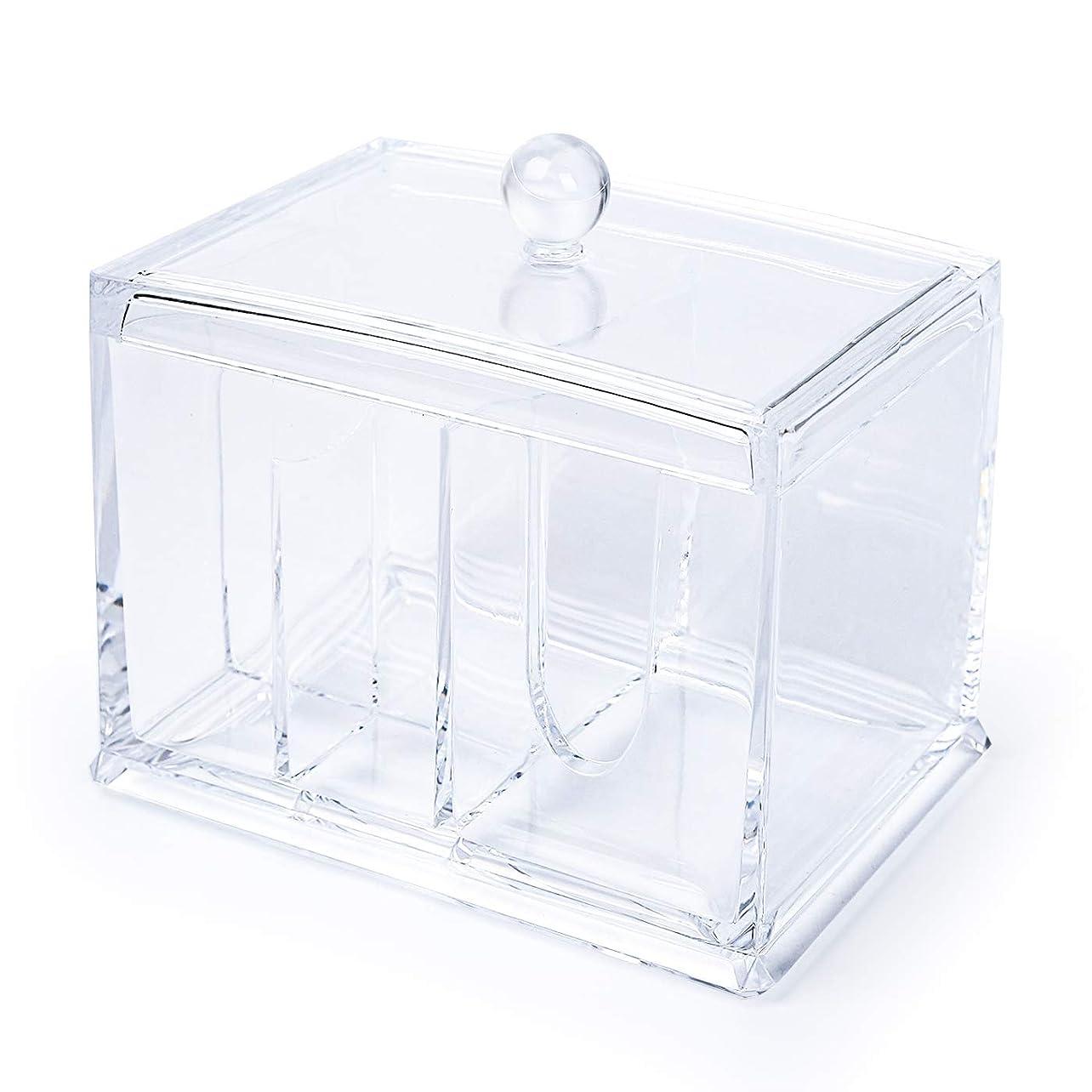 満州ギャザーローンELOKI 収納ボックス アクリルケース 収納ボックス 綿棒 小物?コスメ小物用品収納 ジュエリーボックス アクセサリー 透明 防塵?蓋付き アクリル製